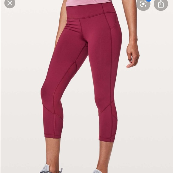 Lululemon Pace Rival Crop ruby wine, size 6